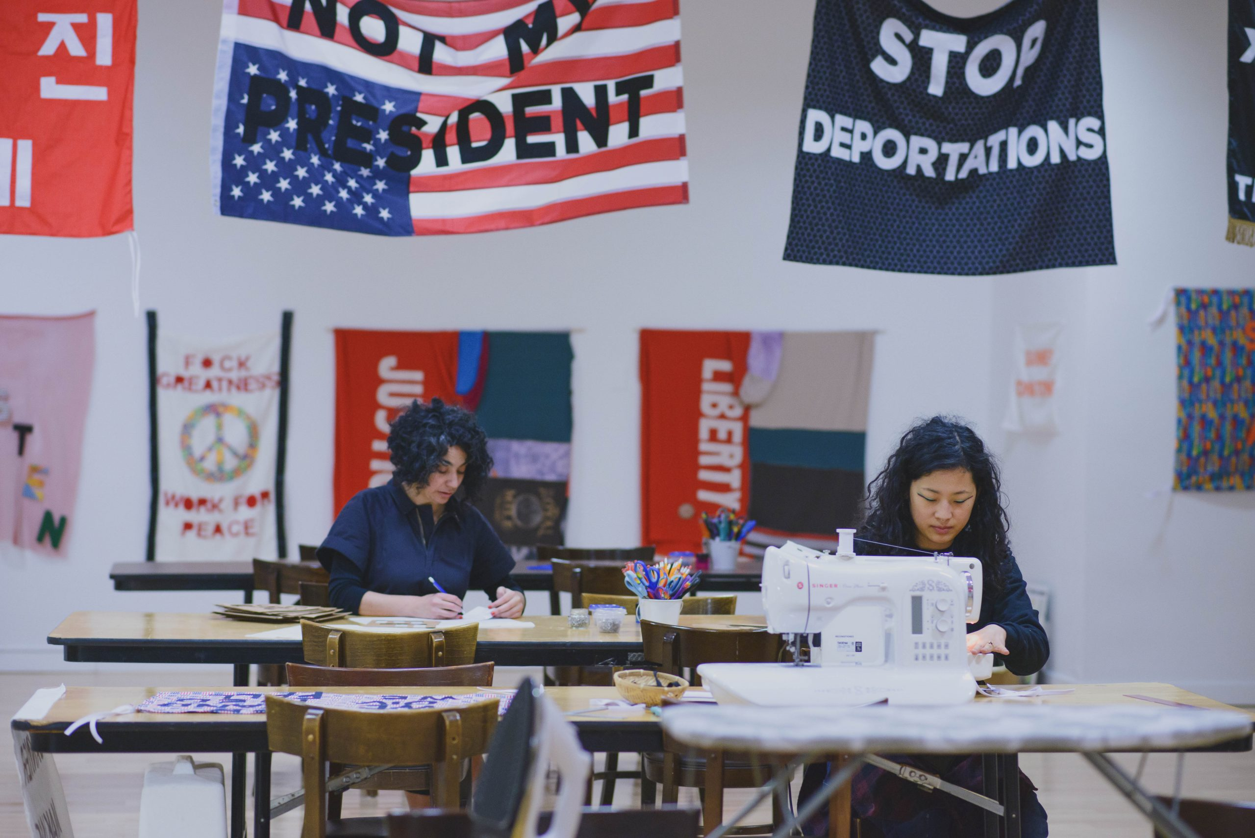 Protest Banner Learning Library Workshop at the Chicago Cultural Center, 2016.
