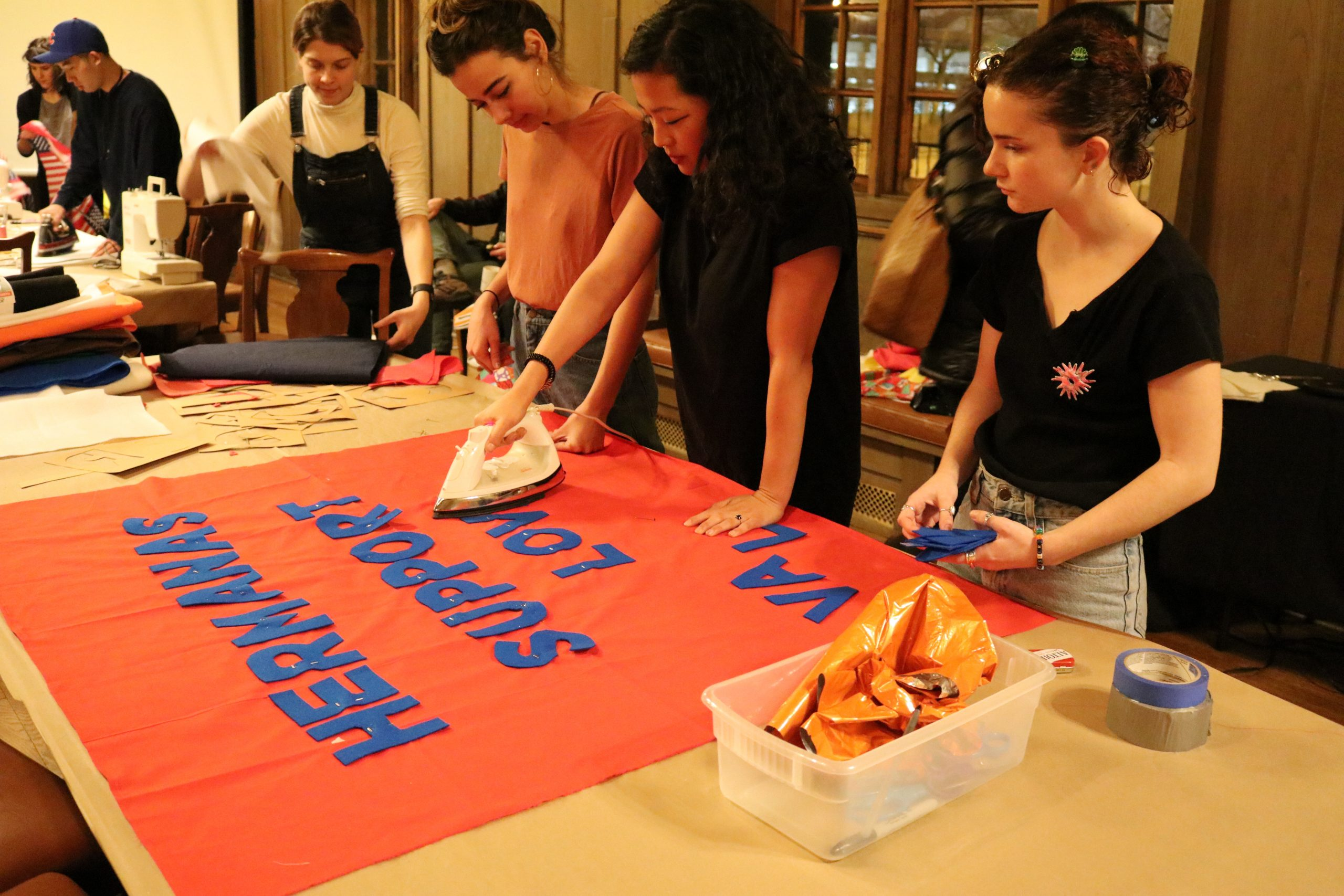 Protest Banner Workshop in the Protest Banner Learning Library at the Jane Addams Hull House, Chicago, 2017.