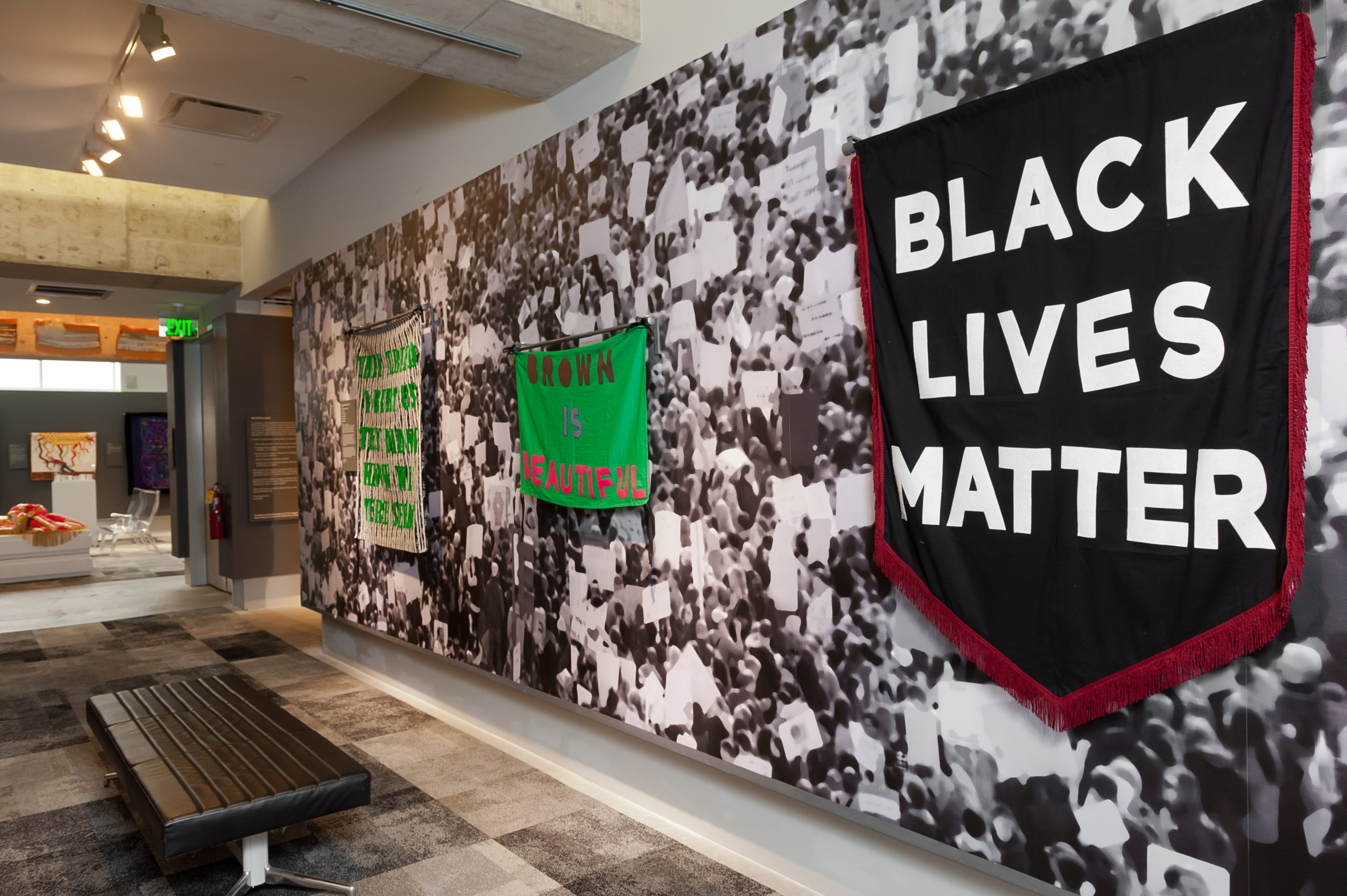 Aram Han Sifuentes' Protest Banner Learning Library installation view at the Luminary, St. Louis, 2018.